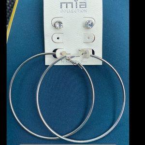 Silver Hoop Earrings with Silver Studs